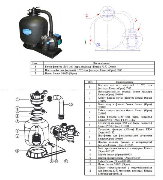 Бочка фильтра д-350мм (верх- подсоед-) Emaux P350 (без вентиля, без крышки) Схема.jpg